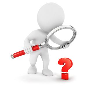 Fehér figura nagyítóval vizsgál egy kérdőjelet