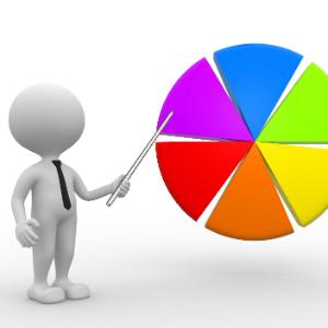 Fehér figura mutat egy pálcával színes diagramra