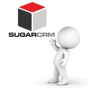 Fehér figura mutat a SugarCRM logóra
